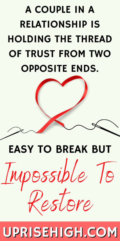 A couple in a relationship is holding the thread of trust from two opposite ends. Easy to break but impossible to restore.
