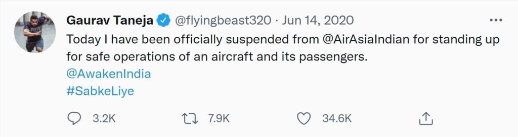 Gaurav Taneja Airlines Suspension Tweet